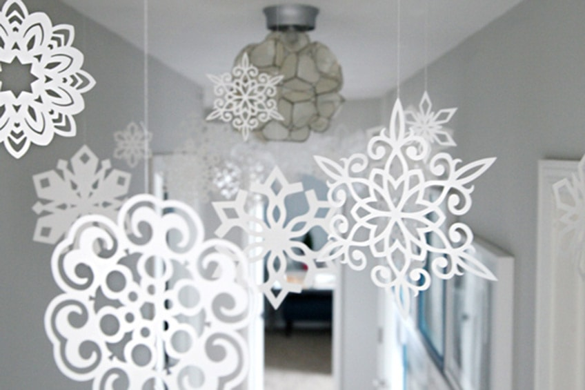 snowflakes hanging from ceiling