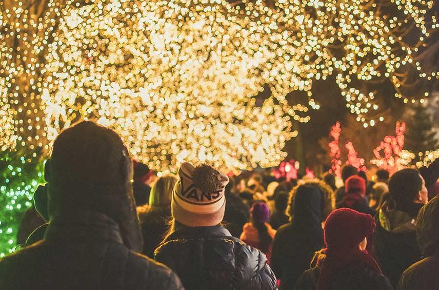 people walking at night through christmas lights