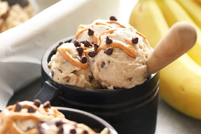 peanut butter ice cream in a bowl