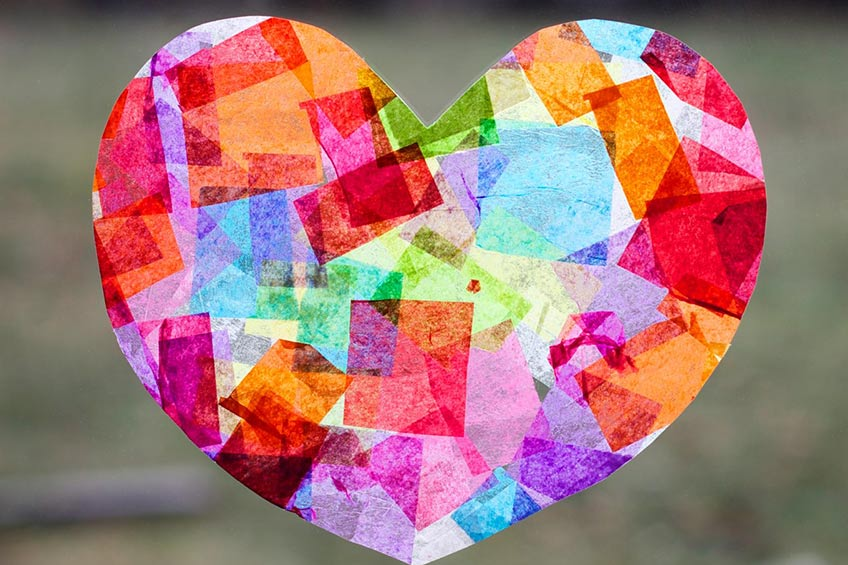 colorful paper heart on window