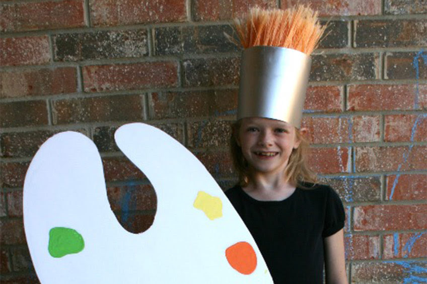 child dressed as paint brush
