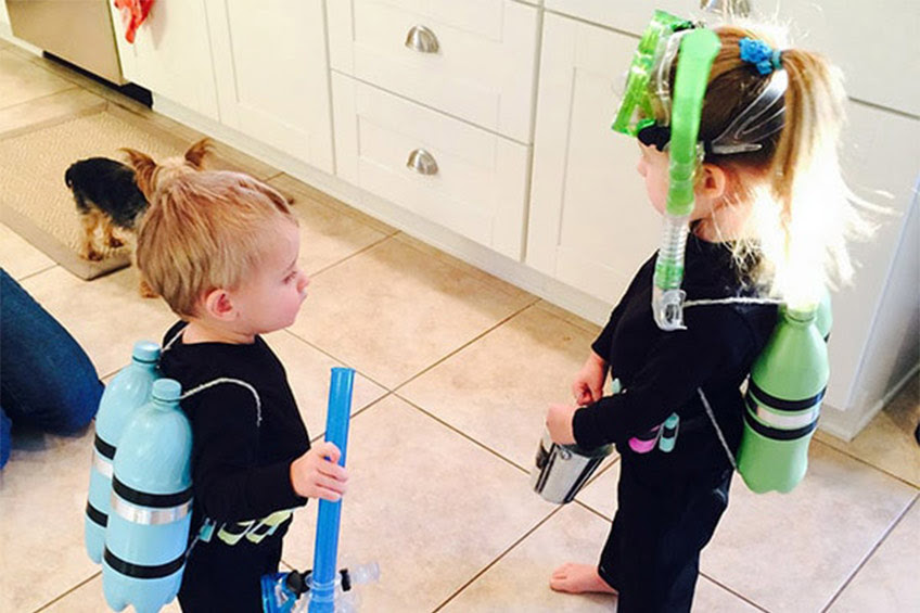 children dressed as scuba divers