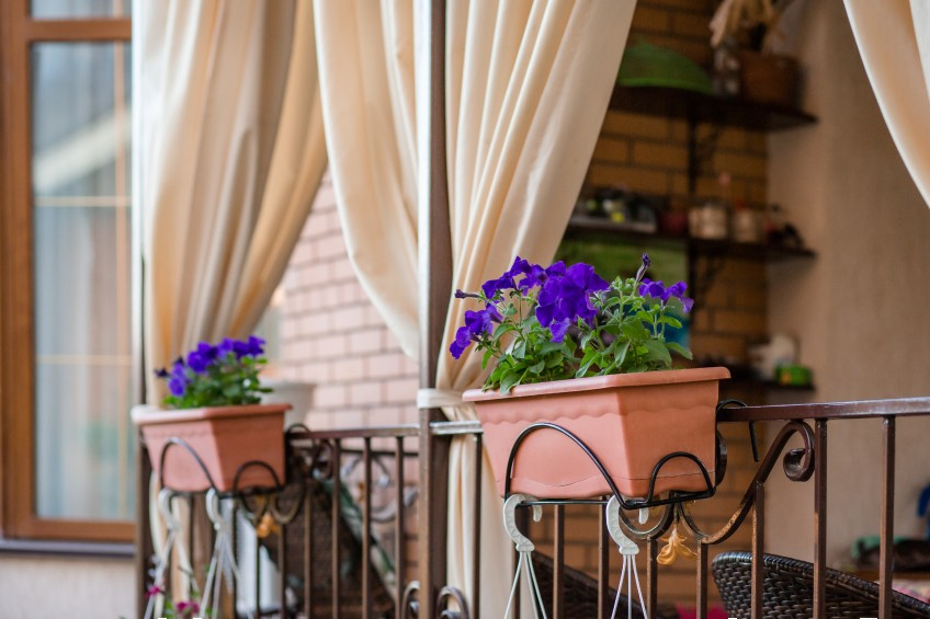 flower boxes on a balcony