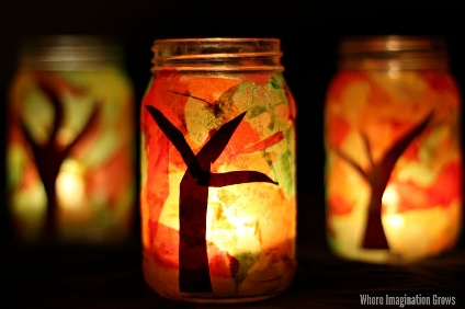 fall tree mason jar luminaries