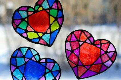 stained glass heart suncatchers