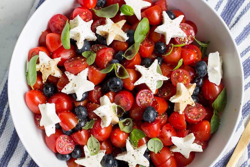 blueberry tomato caprese salad